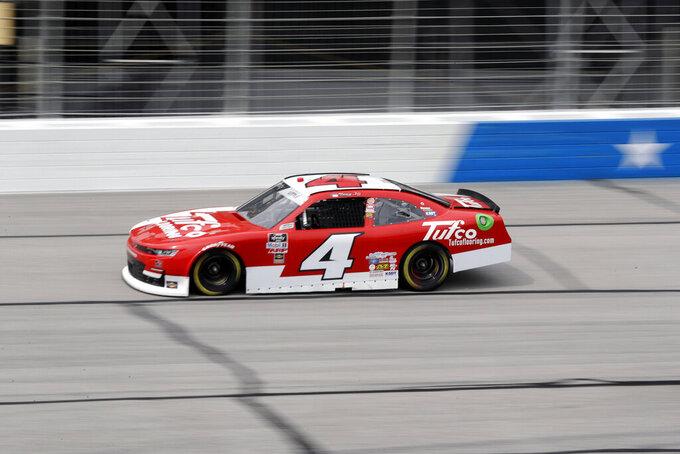 Jesse Little drives during a NASCAR Xfinity Series auto race at Atlanta Motor Speedway, Saturday, June 6, 2020, in Hampton, Ga. (AP Photo/Brynn Anderson)