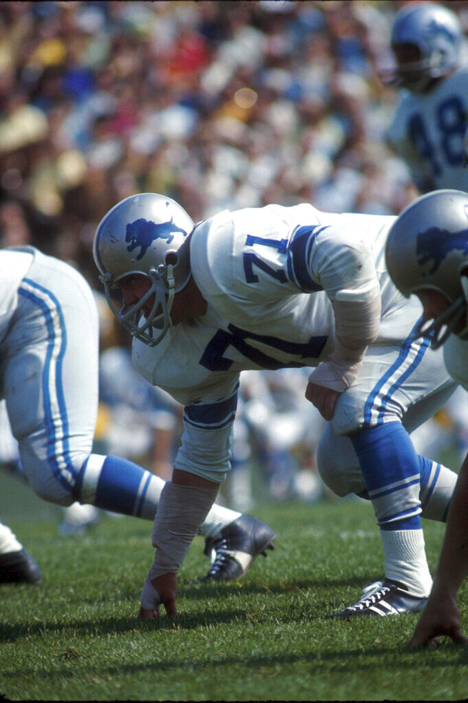 FILE- In this undated file photo, Detroit Lions defensive tackle Alex Karras is shown. A dozen seasons as one of the most feared pass-rushers in the NFL turned out to be just an opening act for Alex Karras. Better late than never, Karras will be formally enshrined as part of the Hall's Centennial Class of 2020. (AP Photo/Vernon Biever, File)