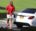 Atlanta Falcons running back Qadree Ollison arrives for NFL football training camp in Flowery Branch, Ga., Tuesday, July 27, 2021. (Curtis Compton/Atlanta Journal-Constitution via AP)