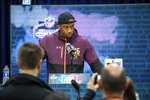 Clemson defensive lineman Clelin Ferrell talks to the media at the NFL Scouting Combine on Saturday, March 2 2019 in Indianapolis. (Detroit Lions via AP)