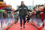 In this Saturday, Nov. 16, 2019 photo Minnesota Twins' Max Kepler claps hands of fans as he arrives for an event at the Armin-Wolf-Arena in Regensburg, Germany. (Armin Weigel/dpa via AP)