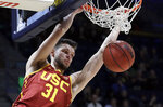 FILE - In this Saturday, Feb. 16, 2019, file photo, Southern California's Nick Rakocevic scores against California in the second half of an NCAA college basketball game in Berkeley, Calif. Rakocevic is one of the Pac-12's top returning big men. The senior averaged 14.7 points and 9.3 rebounds last season and his 15 double-doubles were second-most in the league. He shot 55 percent from the field, but will need to avoid the foul trouble that plagued him last season. (AP Photo/Ben Margot, File)