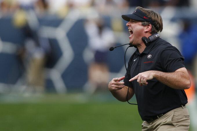 Georgia coach Kirby Smart shouts during the first half of an NCAA college football game  against Georgia Tech, Saturday, Nov. 30, 2019, in Atlanta. (Joshua L. Jones/Athens Banner-Herald via AP)