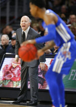 Cincinnati coach Mick Cronin shouts instructions to his team during the first half of an NCAA college basketball game against Memphis, Saturday, March 2, 2019, in Cincinnati. (AP Photo/Gary Landers)