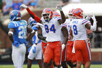 Florida receiver Kyle Pitts celebrates his fourth touchdown of the day during an NCAA college football game against Mississippi on Saturday, Sept. 26, 2020, in Oxford, Miss. (Thomas Wells/The Northeast Mississippi Daily Journal via AP)
