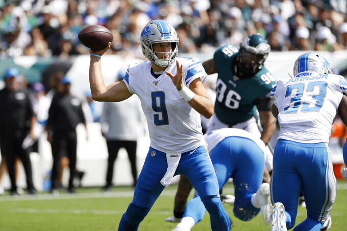 Detroit Lions' Matthew Stafford passes during the first half of an NFL football game against the Philadelphia Eagles, Sunday, Sept. 22, 2019, in Philadelphia. (AP Photo/Michael Perez)