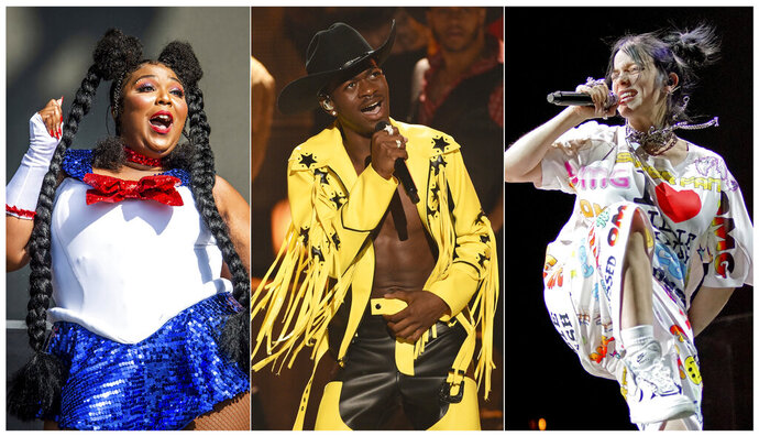 This combination of photos shows, from left, Lizzo performing at the Voodoo Music Experience in New Orleans on Oct. 27, 2018, Lil Nas X performing