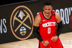 Houston Rockets' Russell Westbrook reacts during the second half of an NBA basketball game against the Dallas Mavericks, Friday, July 31, 2020, in Lake Buena Vista, Fla. (Mike Ehrmann/Pool Photo via AP)