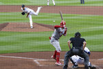 Seattle Mariners starting pitcher Marco Gonzales throws against Los Angeles Angels' Jo Adell in the third inning of a baseball game Wednesday, Aug. 5, 2020, in Seattle. (AP Photo/Elaine Thompson)