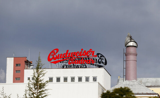 """FILE - This Tuesday, Oct. 30, 2012 file photo, shows the Budejovicky Budvar brewery, in Ceske Budejovice, Czech Republic. Budvar brewer, which has been in a long legal dispute with U.S. giant Anheuser-Busch over use of the """"Budweiser"""" brand, increased output to the highest level in its 125-year history. Budejovicky Budvar NP, a Czech state-owned brewery, says that its output rose 3% to 1.73 million hectoliters (45.7 million gallons) in 2020, despite the pandemic that hit hard global trade and business. (AP Photo/Petr David Josek, File)"""