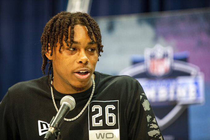 Justin Jefferson talks to the media at the NFL Scouting Combine on Tuesday, Feb. 25, 2020 in Indianapolis. (Detroit Lions via AP)