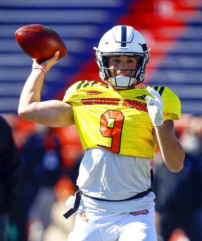 North quarterback Trace McSorley of Penn State (9) passes during practice for Saturday's Senior Bowl NCAA college football game, Thursday, Jan. 24, 2019, in Mobile, Ala. (AP Photo/Butch Dill)