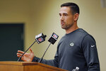 FILE - In this Feb. 18, 2019, file photo, Green Bay Packers' head coach Matt LeFleur addresses the media during a press conference in Green Bay, Wis. The Packers have needed the draft for fixes on defense the last few years, but this might be the time for them to swing back to the other side of the ball. (AP Photo/Matt Ludtke, File)