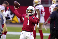 Arizona Cardinals quarterback Kyler Murray (1) warms up prior to an NFL football game against the San Francisco 49ers, Saturday, Dec. 26, 2020, in Glendale, Ariz. (AP Photo/Ross D. Franklin)