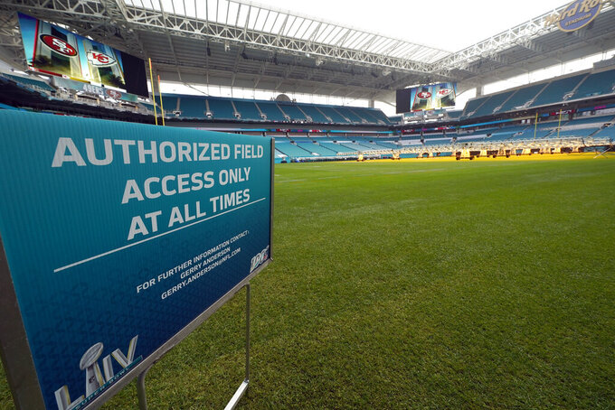 Hard Rock Stadium is shown during a tour for the media Tuesday, Jan. 28, 2020, in Miami Gardens, Fla., in preparation for the NFL Super Bowl 54 football game. (AP Photo/David J. Phillip)