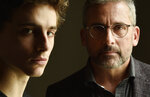 In this Sept. 6, 2018 photo, Timothee Chalamet, left, and Steve Carell appear during a portrait session at the Omni King Edward Hotel to promote their film,