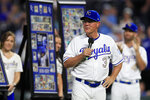 Kansas City Royals manager Ned Yost (3) speaks about his retirement during a ceremony before a baseball game against the Minnesota Twins at Kauffman Stadium in Kansas City, Mo., Friday, Sept. 27, 2019. (AP Photo/Orlin Wagner)