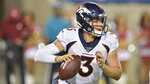 Denver Broncos quarterback Drew Lock scrambles during the second half of the team's Pro Football Hall of Fame NFL preseason game against the Atlanta Falcons, Thursday, Aug. 1, 2019, in Canton, Ohio. (AP Photo/David Richard)
