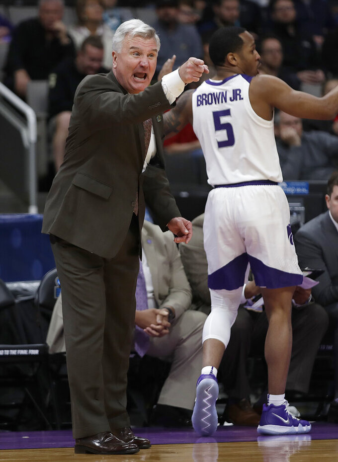Kansas State head coach Bruce Weber gestures during the first half of a first round men's college basketball game in the NCAA Tournament against UC Irvine Friday, March 22, 2019, in San Jose, Calif. (AP Photo/Ben Margot)