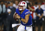 SMU quarterback Ben Hicks looks to pass against TCU during the second quarter of an NCAA college football game Friday, Sept. 7, 2018, in Dallas. (AP Photo/Jim Cowsert)