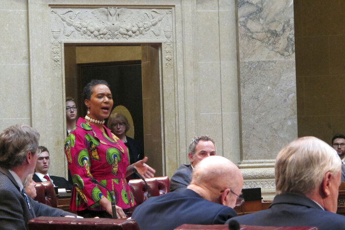 Democratic state Sen. Lena Taylor speaks in favor of recognizing former NFL quarterback Colin Kaepernik as part of a Black History Month resolution on Wednesday, Feb. 13, 2019, in Madison, Wis. The Senate debated the resolution after the state Assembly refused to name Kaepernick, who was born in Milwaukee. (AP Photo/Scott Bauer)