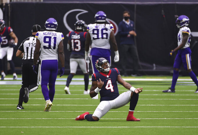 Houston Texans quarterback Deshaun Watson (4) celebrates a touchdown against the Minnesota Vikings during the second half of an NFL football game Sunday, Oct. 4, 2020, in Houston. (AP Photo/Eric Christian Smith)