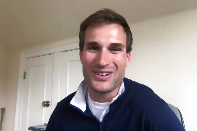 Minnesota Vikings NFL football quarterback Kirk Cousins speaks about his contract extension on a video conference call Tuesday, April 14, 2020. (AP Photo/Dave Campbell)