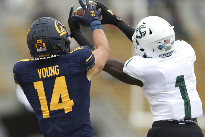 Sacramento State cornerback Muchie Filer (1) intercepts a pass intended California wide receiver Monroe Young (14) during the first half of an NCAA college football game on Saturday, Sept. 18, 2021, in Berkeley, Calif. (AP Photo/Jed Jacobsohn)