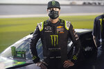 Kurt Busch stands by his car on pit road during qualifying for the NASCAR Daytona 500 auto race at Daytona International Speedway, Wednesday, Feb. 10, 2021, in Daytona Beach, Fla. (AP Photo/John Raoux)