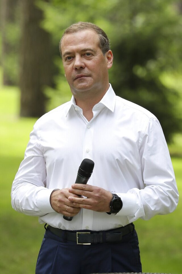 Deputy head of Russia's Security Council Dmitry Medvedev pauses, during a meeting with members of the United Russia party's staff in the Gorky residence outside Moscow, Russia, Wednesday, Aug. 5, 2020. Medvedev on Wednesday described Belarus' arrest of dozens of Russian private security contractors as a presidential campaign stunt and warned that it would have grave consequences for the ties between the two neighbors and allies. (Yekaterina Shtukina, Sputnik, Photo via AP)