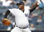 New York Yankees starting pitcher CC Sabathia throws during the first inning of a baseball game against the Chicago White Sox, Saturday, April 13, 2019, in New York. (AP Photo/Kathy Willens)