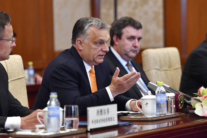 Hungarian Prime Minister Viktor Orban speaks with Chinese Premier Li Keqiang, not pictured, during their meeting at the Diaoyutai State Guesthouse Thursday, April 25, in Beijing. (Parker Song/Pool Photo via AP)