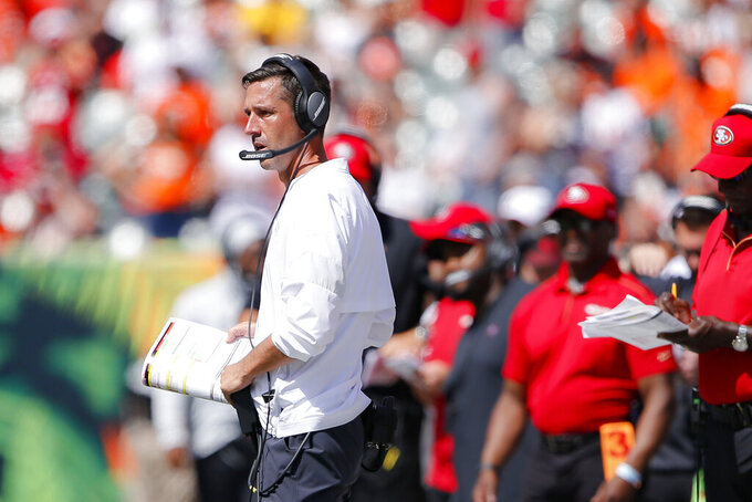 San Francisco 49ers head coach Kyle Shanahan works the sidelines during the first half an NFL football game against the Cincinnati Bengals, Sunday, Sept. 15, 2019, in Cincinnati. (AP Photo/Gary Landers)