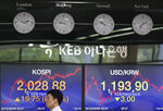 A currency trader walks by the screens showing the Korea Composite Stock Price Index (KOSPI), left, and the foreign exchange rate between U.S. dollar and South Korean won at the foreign exchange dealing room in Seoul, South Korea, Monday, Sept. 9, 2019. (AP Photo/Lee Jin-man)