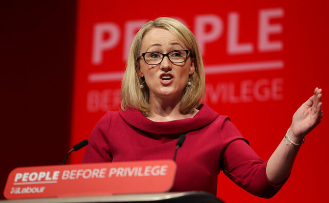 "FILE - In this Tuesday, Sept. 24, 2019 file photo, Rebecca Long-Bailey, Britain's Shadow Business secretary speaks on stage during the Labour Party Conference at the Brighton Centre in Brighton, England. The leader of Britain's main opposition Labour Party, Keir Starmer on Thursday June 25, 2020, fired lawmaker Rebecca Long-Bailey from a top party job for sharing an article on social media containing what Starmer called ""an anti-Semitic conspiracy theory."" Starmer says he has asked Rebecca Long-Bailey to stop down as party education spokeswoman. (AP Photo/Kirsty Wigglesworth, file)"