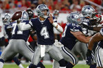 Dallas Cowboys quarterback Dak Prescott (4) throws a pass against the Tampa Bay Buccaneers during the first half of an NFL football game Thursday, Sept. 9, 2021, in Tampa, Fla. (AP Photo/Scott Audette)
