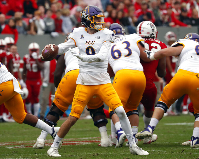 East Carolina quarterback Reid Herring (9) looks to pass during the first half of NCAA college football game in Raleigh, N.C., Saturday, Dec. 1, 2018. (AP Photo/Chris Seward)
