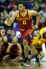 Iowa State guard Talen Horton-Tucker (11) points to a teammate during the second half of an NCAA college basketball game against Baylor in the quarterfinals of the Big 12 conference tournament in Kansas City, Mo., Thursday, March 14, 2019. Iowa State defeated Baylor 83-66. (AP Photo/Orlin Wagner)