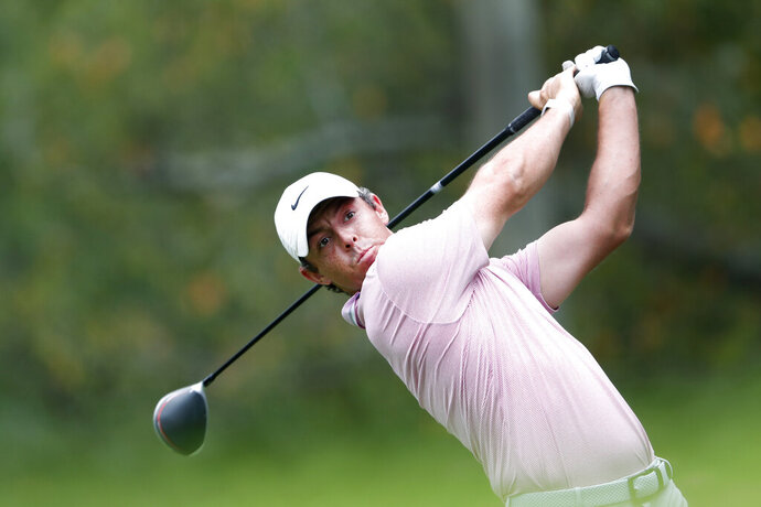 Rory McIlroy hits from the fifth tee during the final round of the Tour Championship golf tournament Sunday, Aug. 25, 2019, at East Lake Golf Club in Atlanta. (AP Photo/John Bazemore)