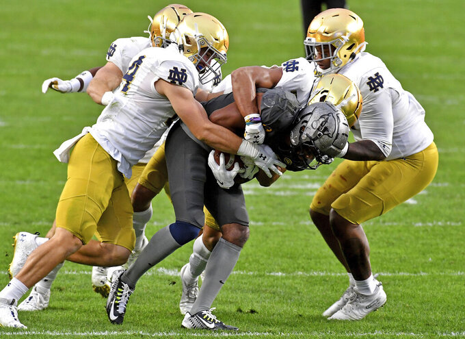 Pitt wide receiver Taysir Mack tries to find running room against Notre Dame in the second half of an NCAA college football game Saturday, Oct. 24, 2020, in Pittsburgh. (Matt Freed/Pittsburgh Post-Gazette via AP)