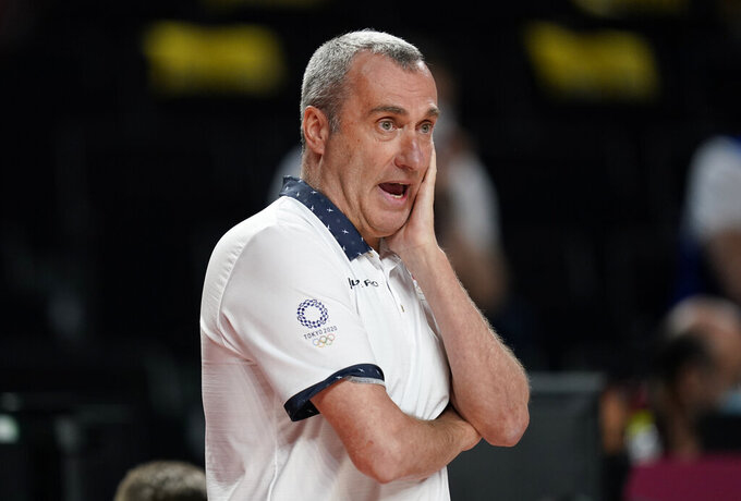 Czech Republic head coach Ronen Ginzburg reacts during men's basketball game against Iran at the 2020 Summer Olympics, Sunday, July 25, 2021, in Saitama, Japan. (AP Photo/Charlie Neibergall)
