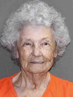 In this undated booking photo provided Wednesday, July 10, 2019, by the Leon County, Texas, Sheriff's Office is 84-year-old Norma Allbritton. Allbritton was arrested July 1 on a murder charge in the 1984 shooting death of her husband. (Leon County, Texas, Sheriff's Office via AP)