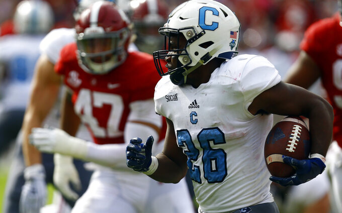 Citadel running back Keyonte Sessions (26) carries the ball against Alabama during the second half of an NCAA college football game, Saturday, Nov. 17, 2018, in Tuscaloosa, Ala. (AP Photo/Butch Dill)