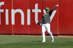Oakland Athletics pitcher Jesus Luzardo throws during baseball practice in Oakland, Calif., Tuesday, Oct. 1, 2019. The Athletics are scheduled to face the Tampa Bay Rays in an American League wild-card game Wednesday, Oct. 2. (AP Photo/Jeff Chiu)