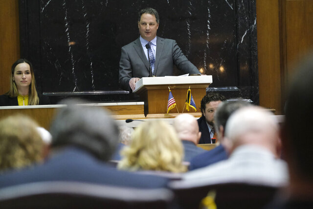 In this file photo taken on Monday, March 9, 2020, Speaker of the House Todd Huston, R-Fishers, addresses the House Chamber after being sworn in at the Statehouse in Indianapolis. Huston is trying to hold onto his suburban Indianapolis district that's shifted away from reliably Republican as he faces his first election since March, when he took over the powerful position that controls much of the General Assembly's action. He faces Democratic challenger Aimee Rivera Cole, who received 46% of the vote against Huston two years ago. (AP Photo/AJ Mast)