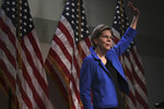 Democratic presidential candidate Sen. Elizabeth Warren, D-Mass., waves after her address at the New Hampshire Institute of Politics in Manchester, N.H., Thursday, Dec. 12, 2019.(AP Photo/Charles Krupa)