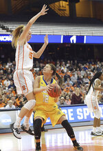 Syracuse's Digna Strautmane (45) defends against South Dakota State's Macy Miller (15) during a second-round game in the NCAA women's college basketball tournament in Syracuse, N.Y., Monday, March 25, 2019. (AP Photo/Heather Ainsworth)