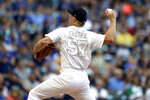 Milwaukee Brewers' Chase Anderson pitches during the first inning of a baseball game against the Arizona Diamondbacks, Saturday, Aug. 24, 2019, in Milwaukee. (AP Photo/Aaron Gash)