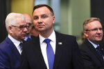 CORRECTS DATE - Poland's President Andrzej Duda arrives for a working session during a summit of heads of state and government at NATO headquarters in Brussels on Thursday, July 12, 2018. (AP Photo/Markus Schreiber)