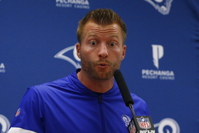 Los Angeles Rams head coach Sean McVay answers a question during a news conference following an NFL football game against the Dallas Cowboys in Arlington, Texas, Sunday, Dec. 15, 2019. (AP Photo/Michael Ainsworth)